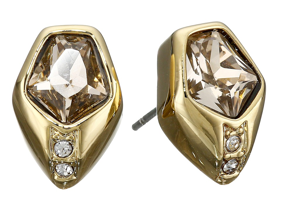 Vince Camuto - Pentagon Sone Stud Earrings (Gold/Champagne/Crystal) Earring