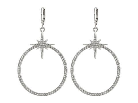 Vince Camuto - Pave Star Frontal Hoop Earrings (Light Rhodium/Crystal) Earring