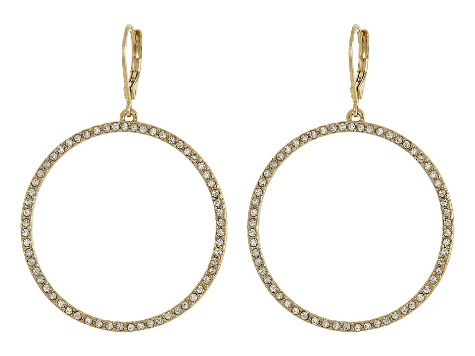 Vince Camuto - Pave Open Circle Earrings (Gold/Crystal) Earring