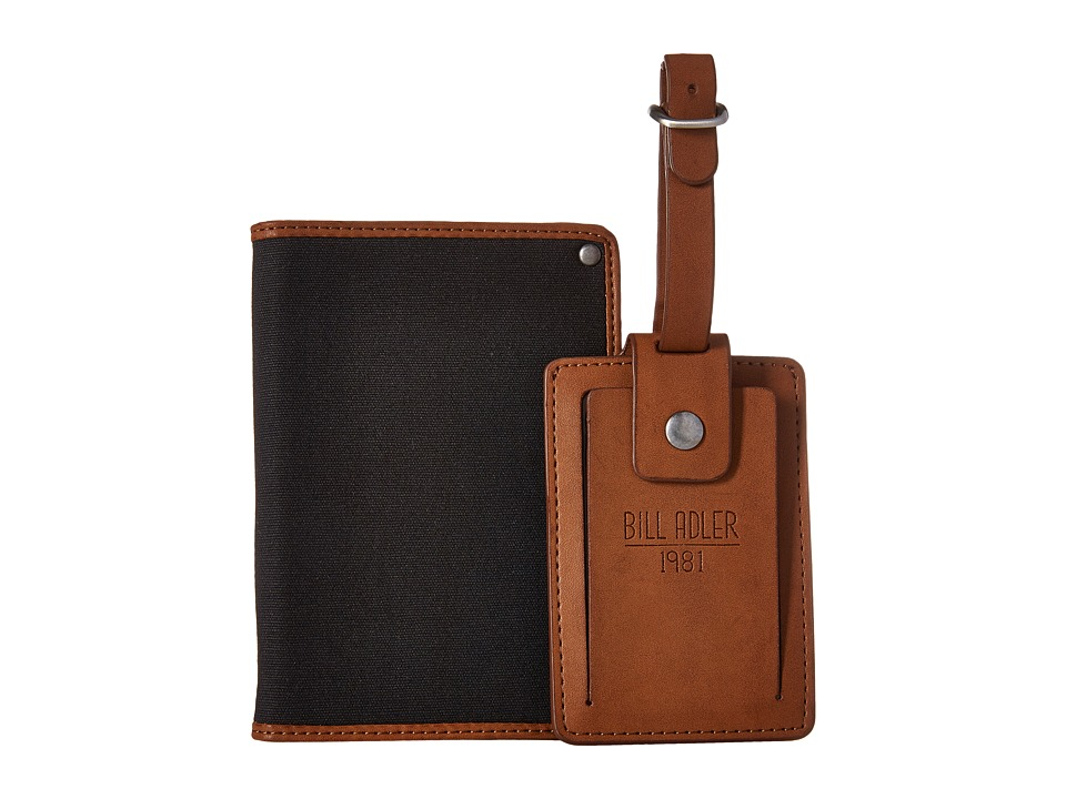Bill Adler 1981 - Luggage Tag Canvas Passport Case (Black/Brown) Wallet