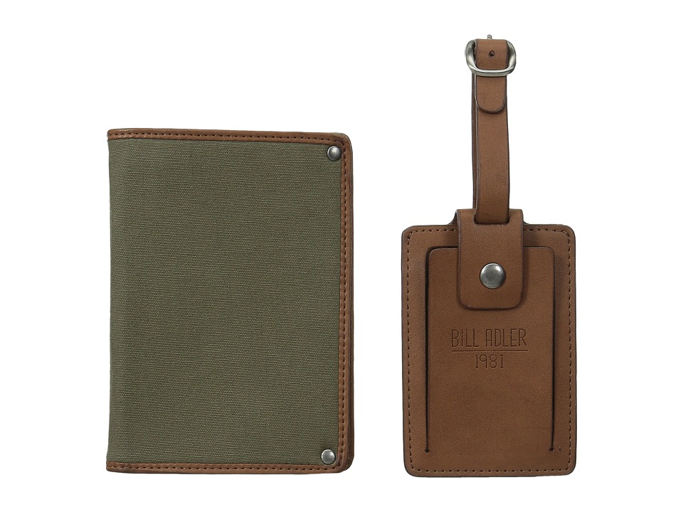 Bill Adler 1981 - Luggage Tag Canvas Passport Case (Olive/Cognac) Wallet