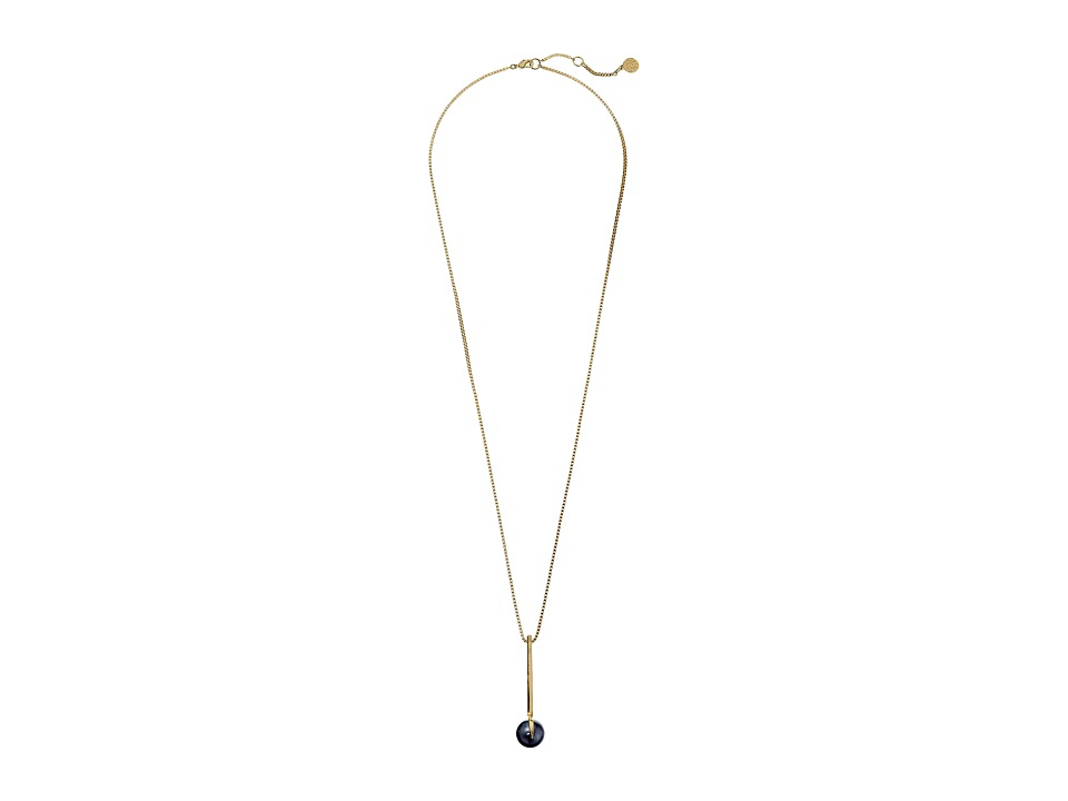 Vince Camuto - Linear Drop Pearl Pendant Necklace (Gold/Dark Grey Pearl) Necklace