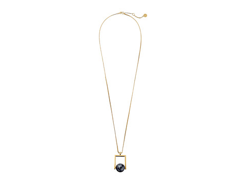 Vince Camuto - Geometric Pearl Pendant Necklace (Gold/Dark Grey Pearl) Necklace