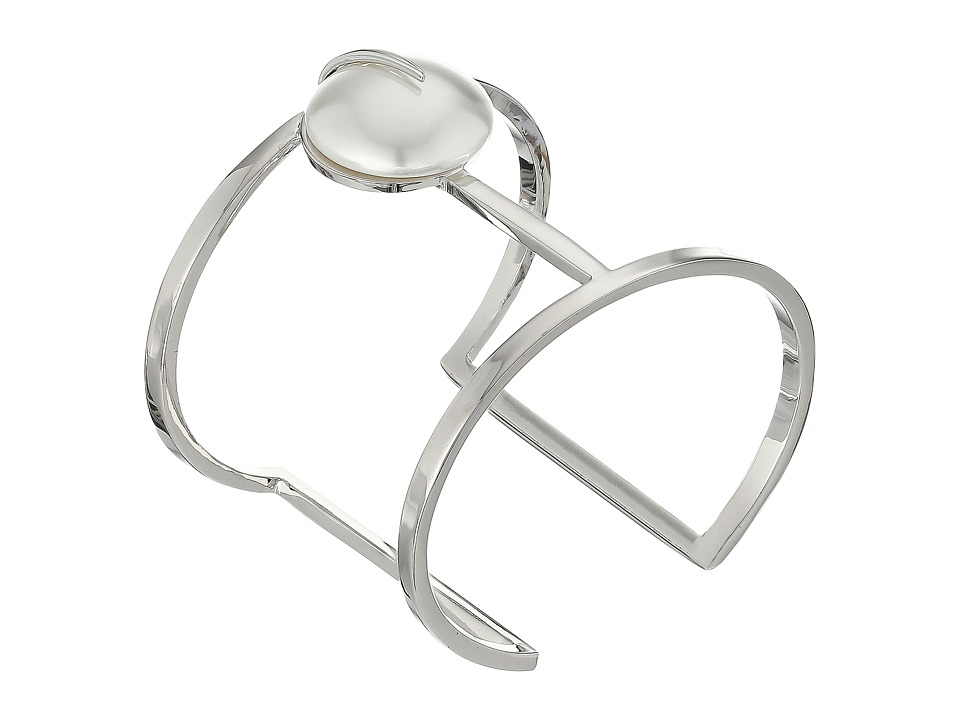Vince Camuto - Pearl T Bar Cuff Bracelet (Light Rhodium/White Pearl) Bracelet