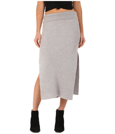Free People - Felix Rib Maxi Skirt (Light Grey) Women's Skirt
