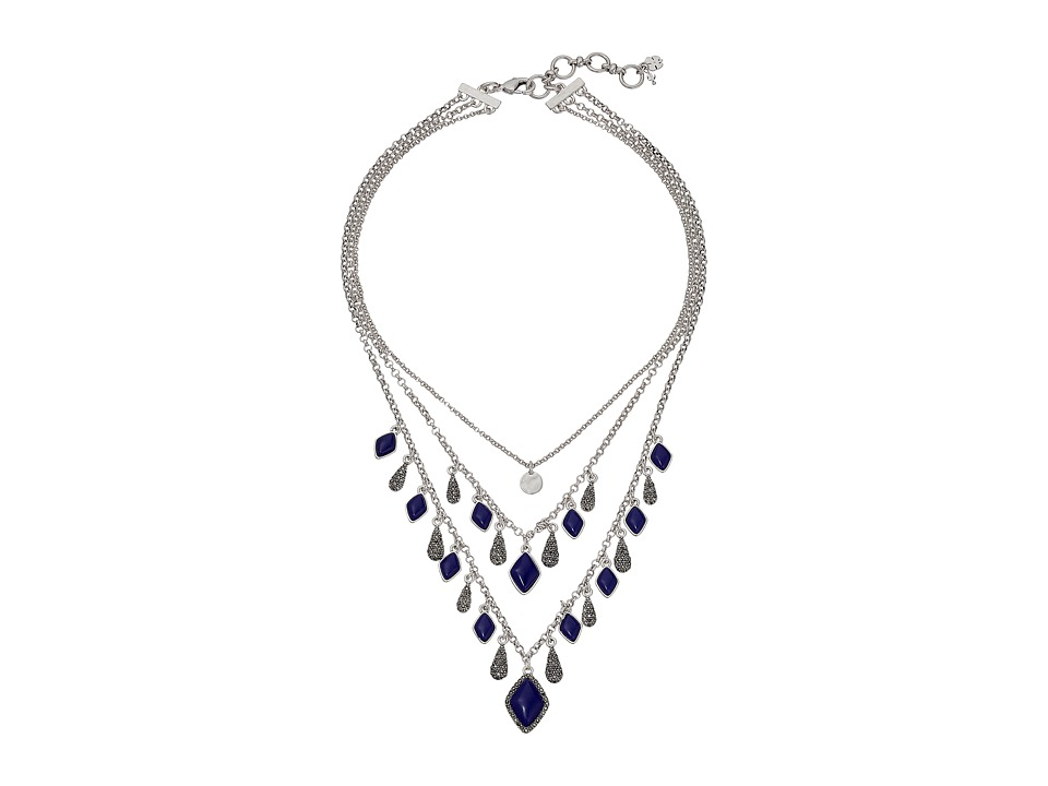 Lucky Brand - Lapis Multi Chain Collar Necklace (Silver) Necklace