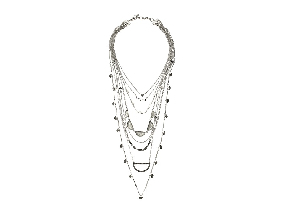 Lucky Brand - Major Lucky Layer Clear Quartz Necklace (Silver) Necklace