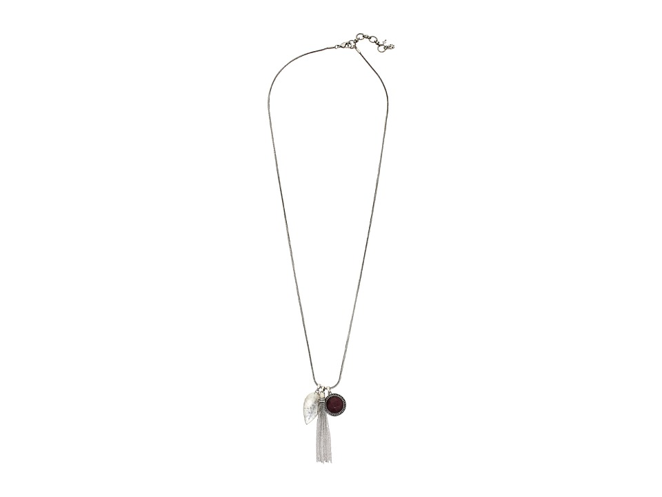 Lucky Brand - Red Jade Charm Necklace (Silver) Necklace
