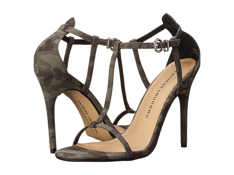 Chinese Laundry - Leo T Strap Sandal (Olive Camouflage) High Heels