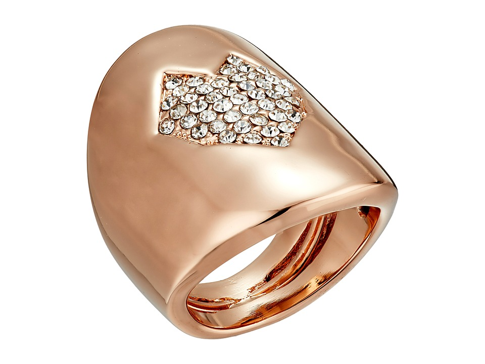 Vince Camuto - Adjustable Pave Heart Ring (Rose Gold/Crystal) Ring
