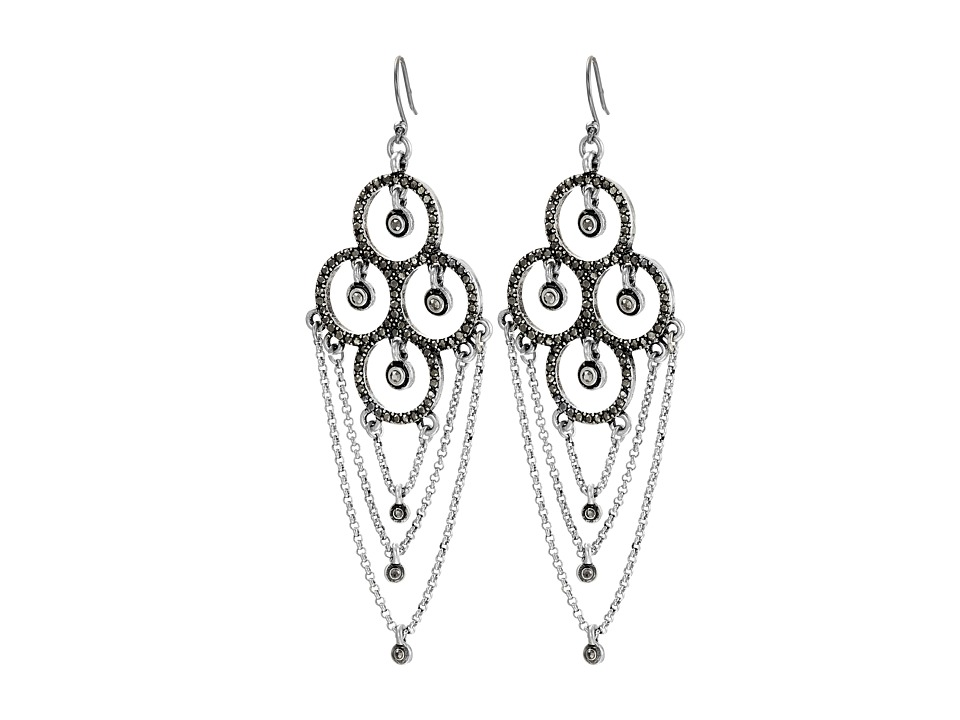 Lucky Brand - Pave Chain Dangles Earrings (Silver) Earring