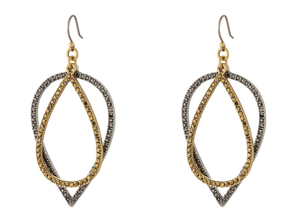 Lucky Brand - Pave Drop Earrings (Two-Tone) Earring