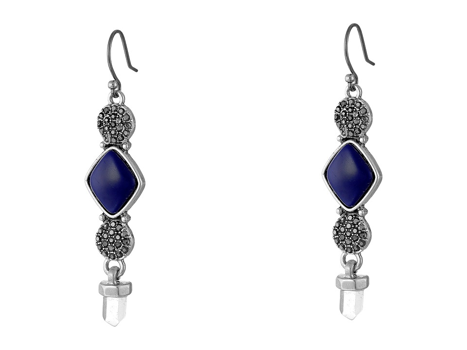 Lucky Brand - Lapis Double Pave Drop Earrings (Silver) Earring