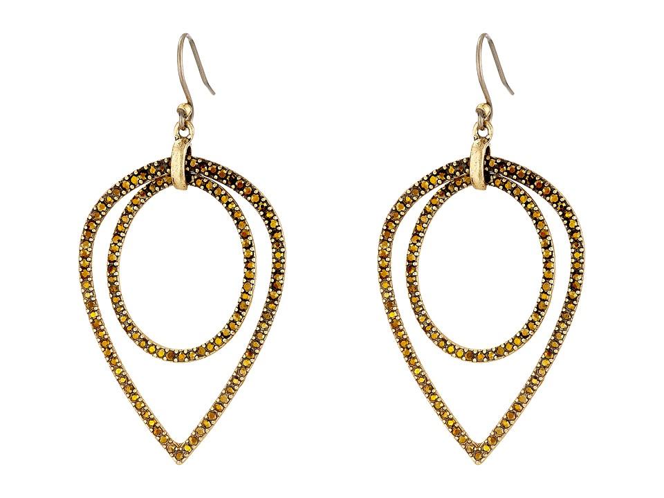 Lucky Brand - Double Pave Teardrop Earrings (Gold) Earring