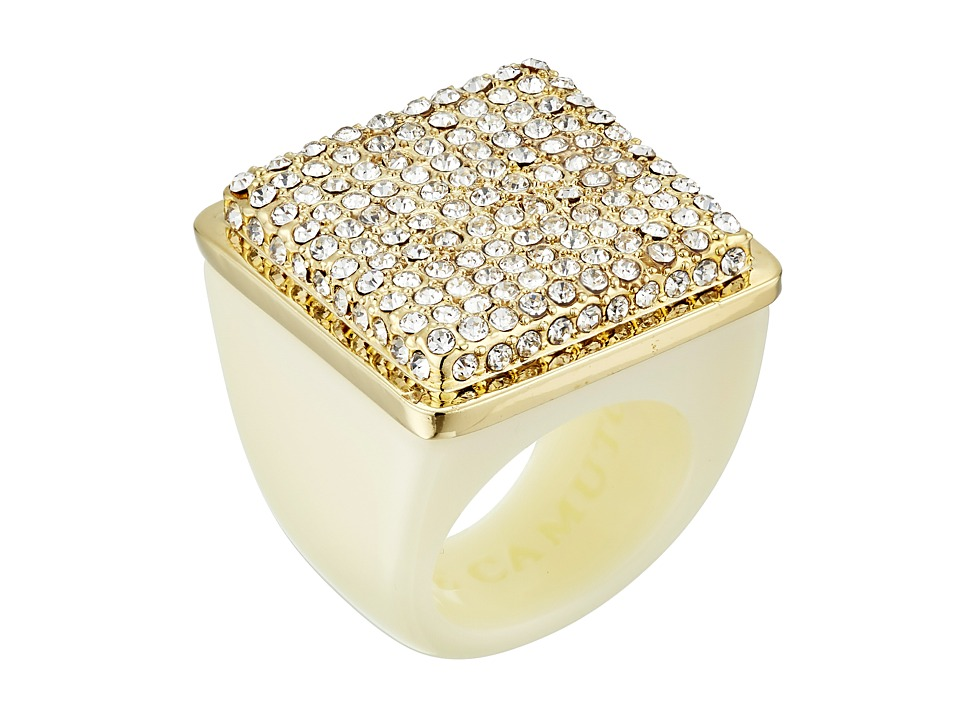 Vince Camuto - Resin with Pave Ring (Gold/Ivory/Crystal) Ring
