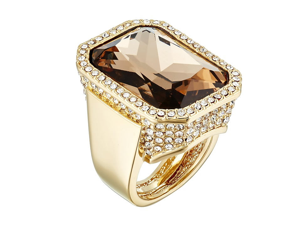 Vince Camuto - Rectangle Stone Drama Adjustable Ring (Gold/Champagne/Crystal) Ring