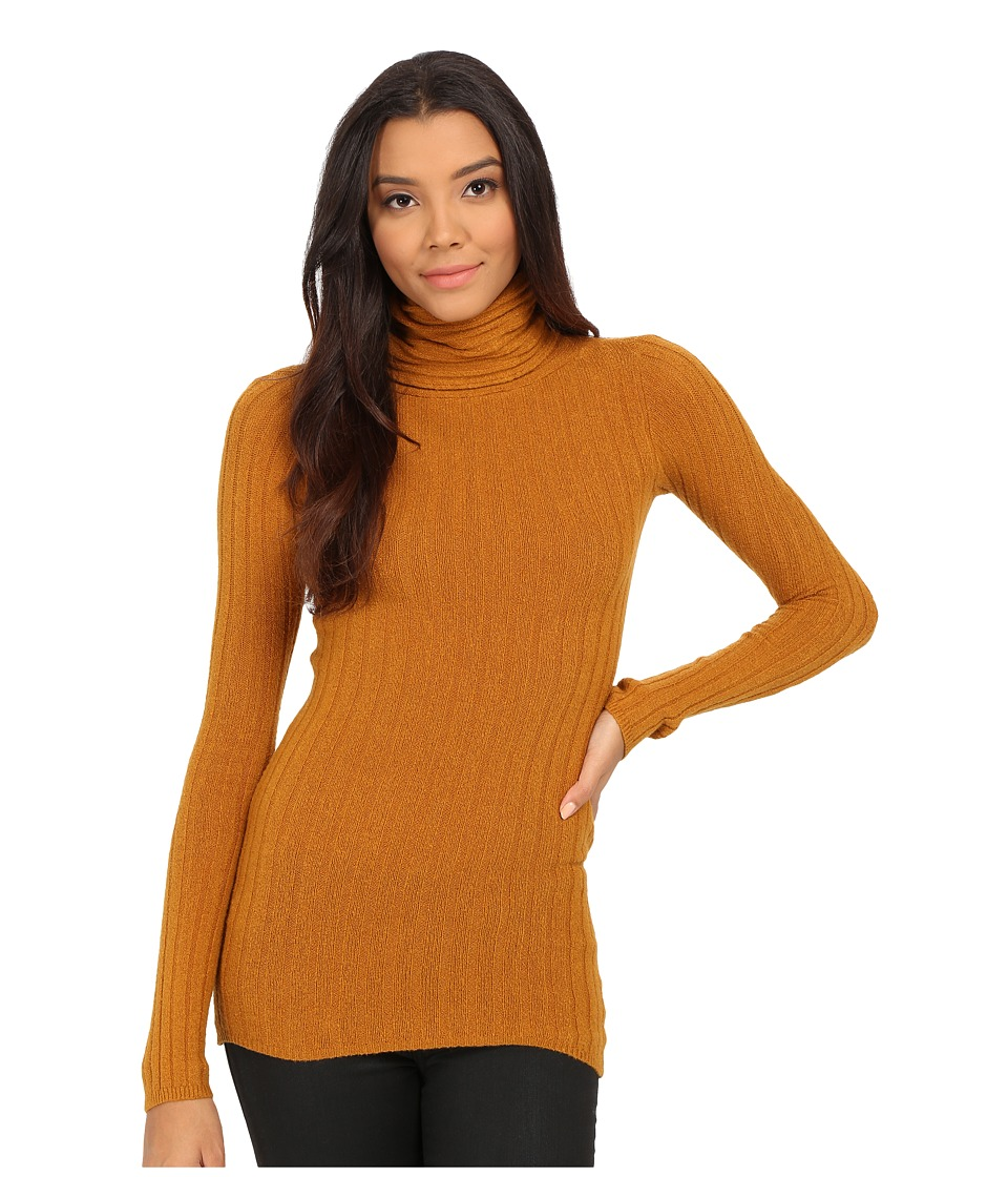 Free People - Skinny Mockneck Sweater (Dark Mustard) Women's Sweater