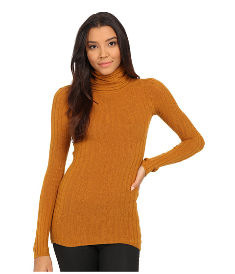 Free People - Skinny Mockneck Sweater (Dark Mustard) Women