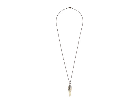 Vince Camuto - Resin Spike Pendant Necklace (Matte Black/White Swirl/Crystal) Necklace
