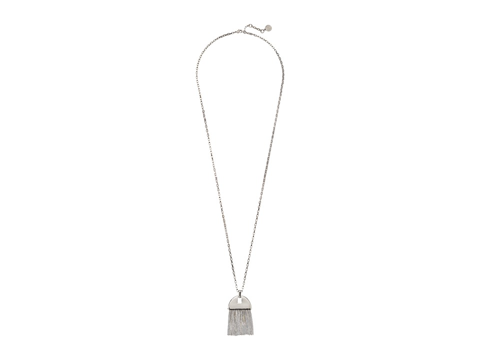 Vince Camuto - Half Round Fringe Pendant Necklace (Light Rhodium) Necklace