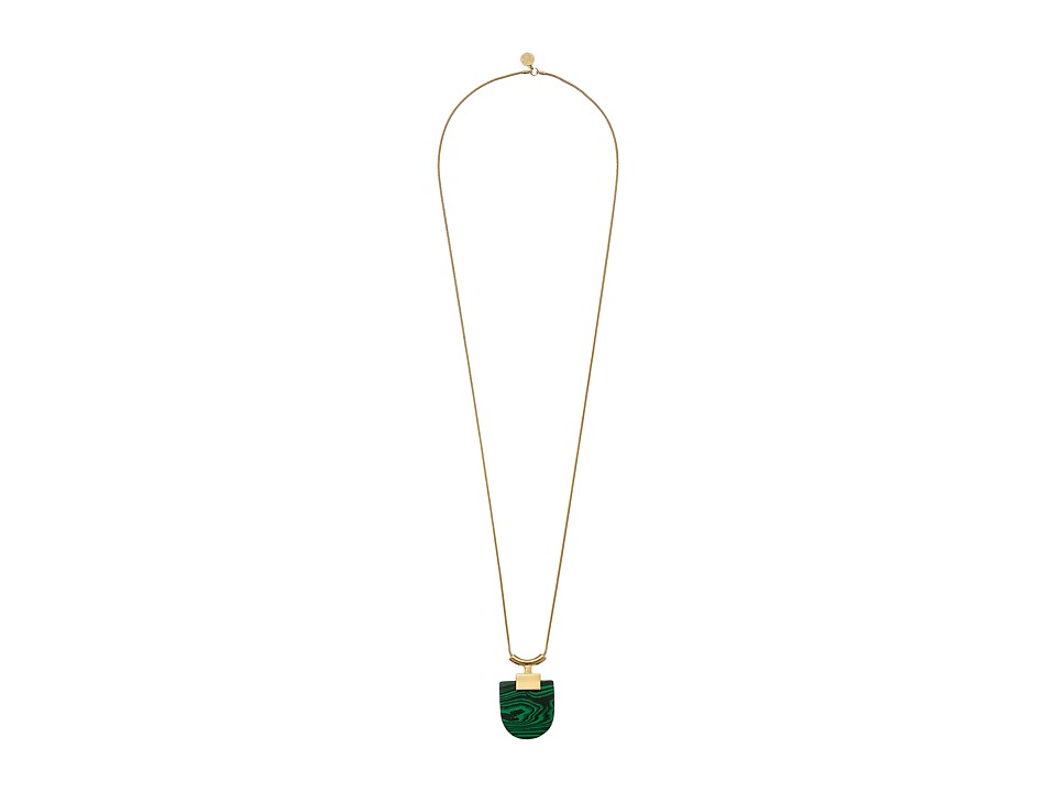 Vince Camuto - Geo Stone Pendant Necklace (Gold/Malachite) Necklace