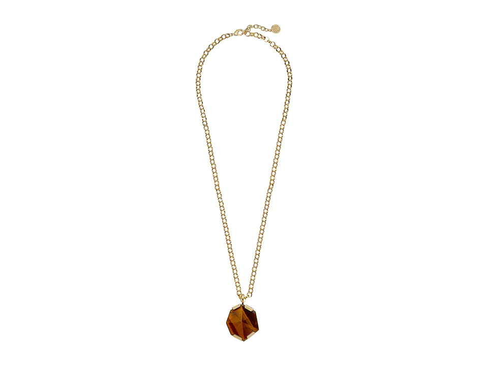 Vince Camuto - Bold Stone Pendant Necklace (Gold/Tigers Eye) Necklace