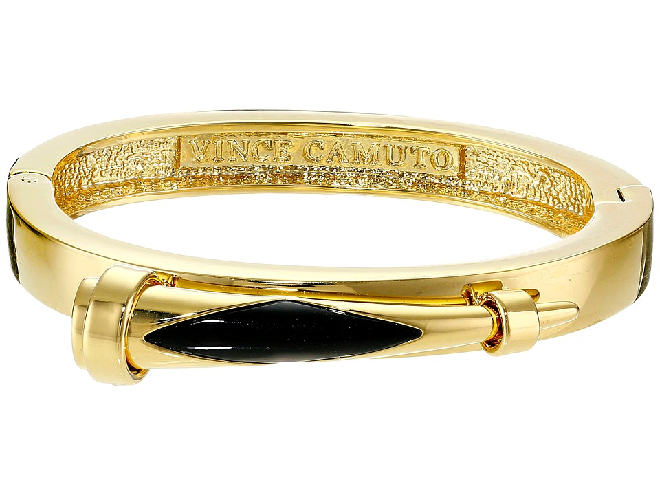Vince Camuto - Inlaid Horn Hinge Bangle (Gold/Jet) Bracelet
