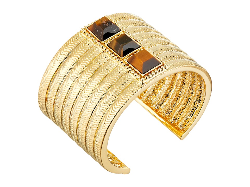 Vince Camuto - Textured Tigers Eye Stone Cuff Bracelet (Gold/Tigers Eye) Bracelet