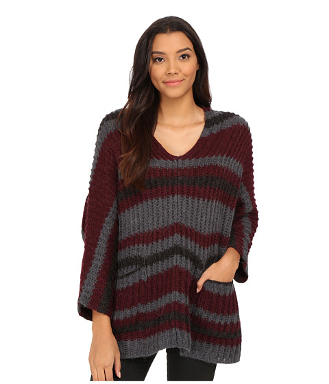 Free People - Stripe Pockets Sweater (Charcoal Combo) Women's Sweater