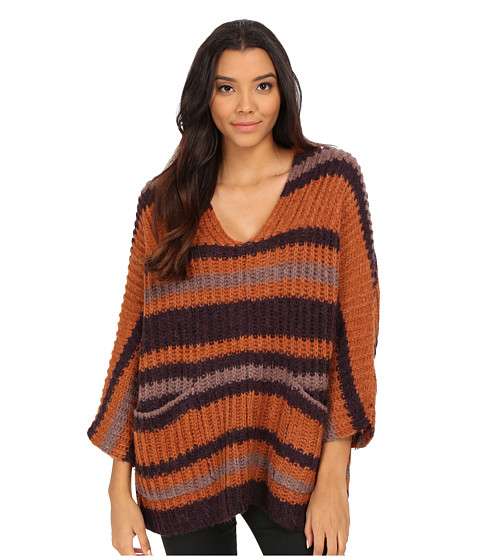 Free People - Stripe Pockets Sweater (Plum Combo) Women's Sweater