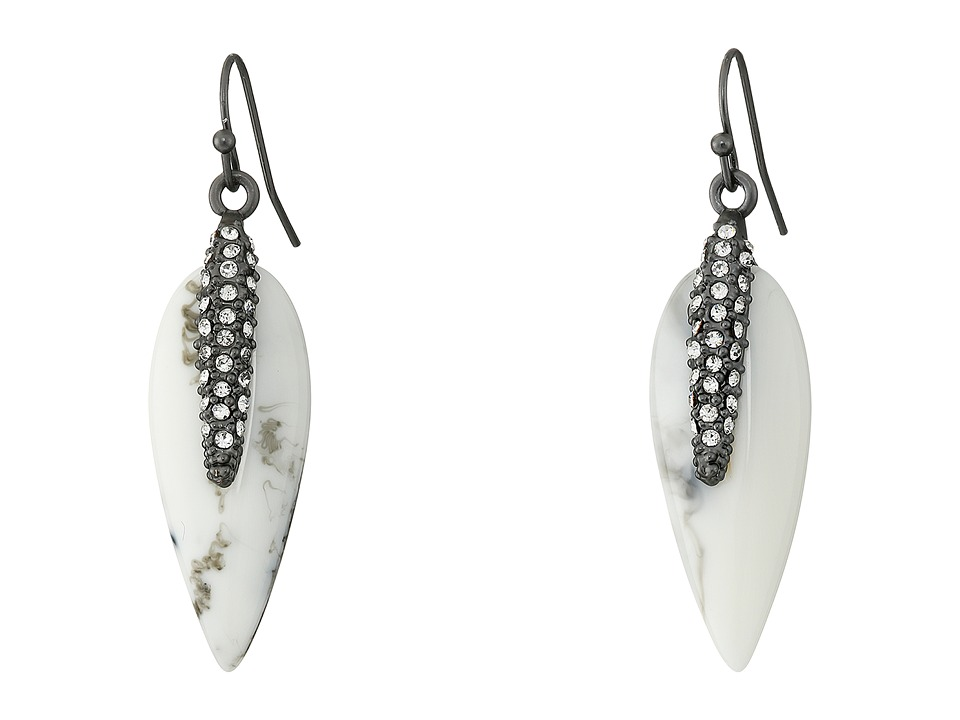 Vince Camuto - Small Resin Spike Earrings (Matte Black/White Swirl/Crystal) Earring