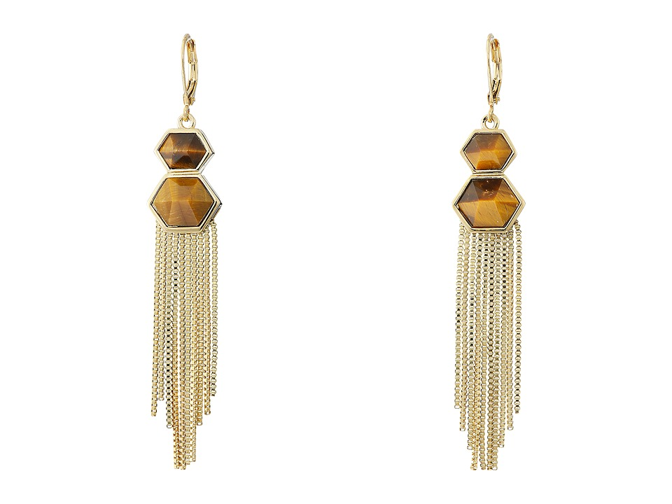 Vince Camuto - Drama Fringe Earrings (Gold/Tigers Eye) Earring