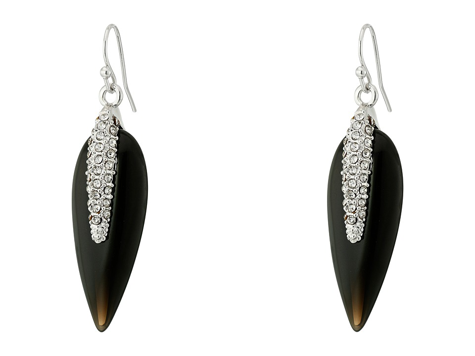 Vince Camuto - Small Resin Spike Earrings (Light Rhodium/Jet/Crystal) Earring
