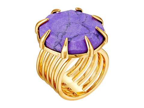 Vince Camuto - Adjustable Round Slab Pronged Ring (Gold/Purple Howlite) Ring