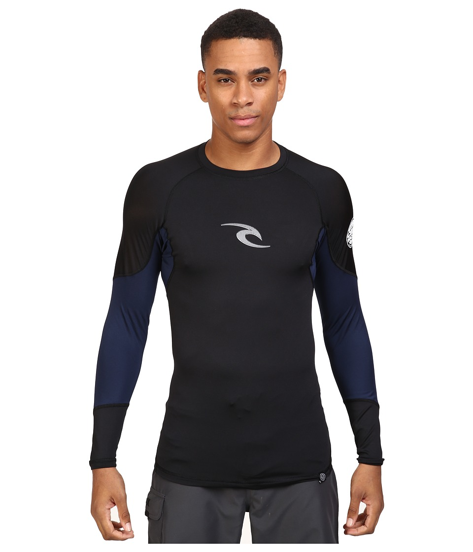 Rip Curl - E Bomb Surf Rashguard Long Sleeve (Black) Men's Swimwear