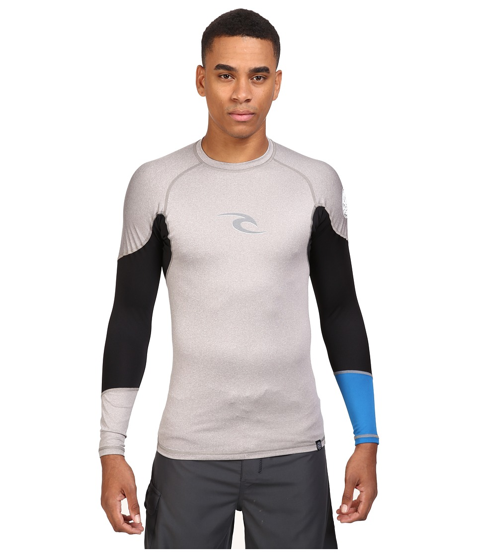 Rip Curl - E Bomb Surf Rashguard Long Sleeve (Grey) Men's Swimwear