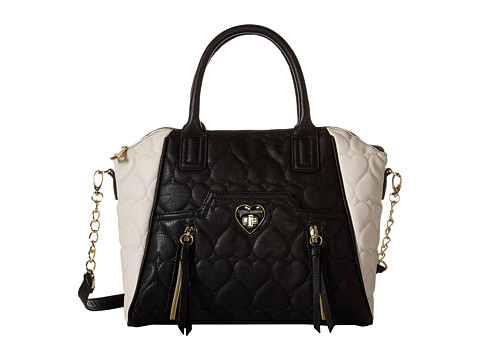 Betsey Johnson - Be Mine Double Zip Satchel (Bone/Black) Satchel Handbags