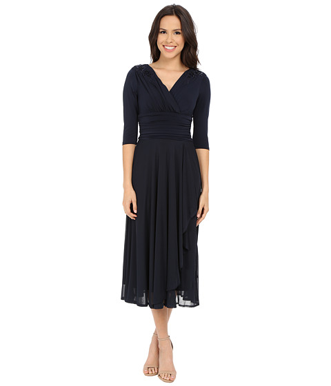Sangria - 3/4 Sleeve V-Neck Fit Flare With Embellished Shoulders (Midnight) Women's Dress