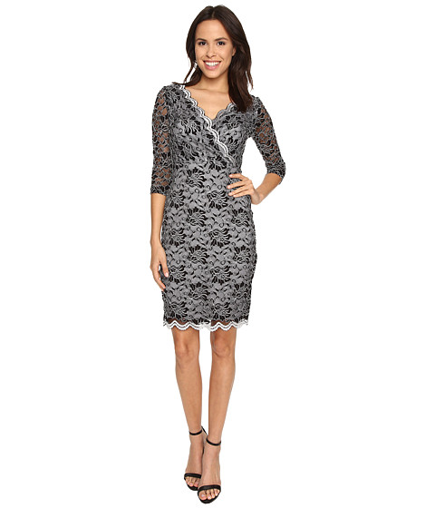Sangria - 3/4 Sleeve V-Neck All Over Lace Sheath (Black/Sterling) Women