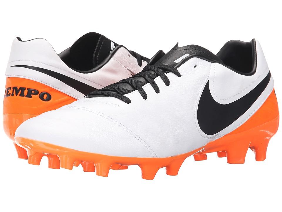Nike - Tiempo Mystic V FG (White/Total Orange/Black) Men's Soccer Shoes