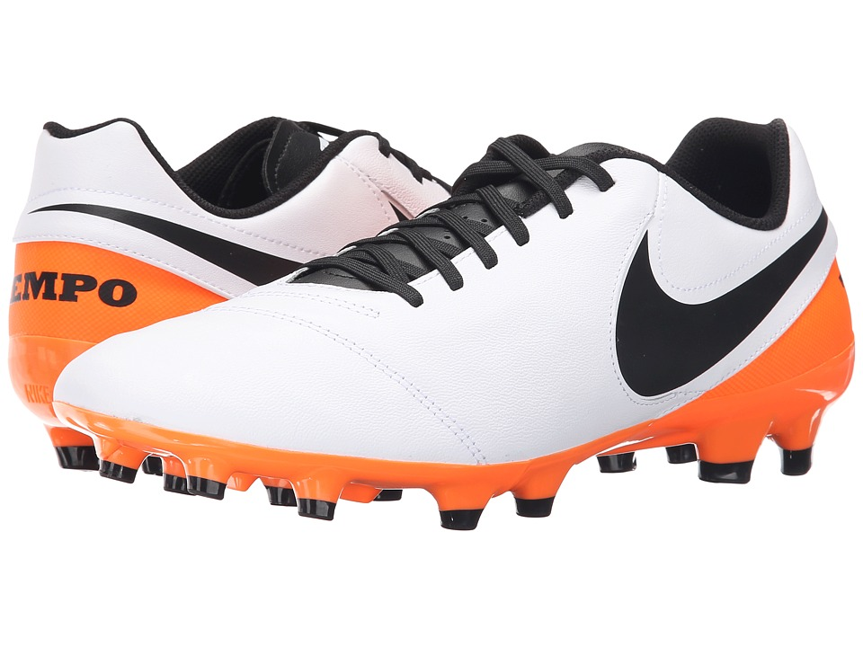 Nike - Tiempo Genio II Leather FG (White/Total Orange/Black) Men's Soccer Shoes