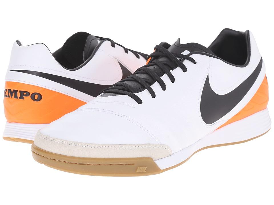 Nike - Tiempo Mystic V IC (White/Total Orange/Black) Men's Soccer Shoes
