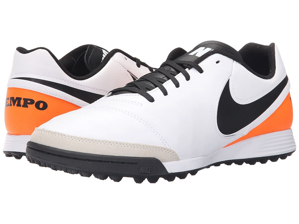 Nike - Tiempo Genio II Leather TF (White/Total Orange/Black) Men's Soccer Shoes