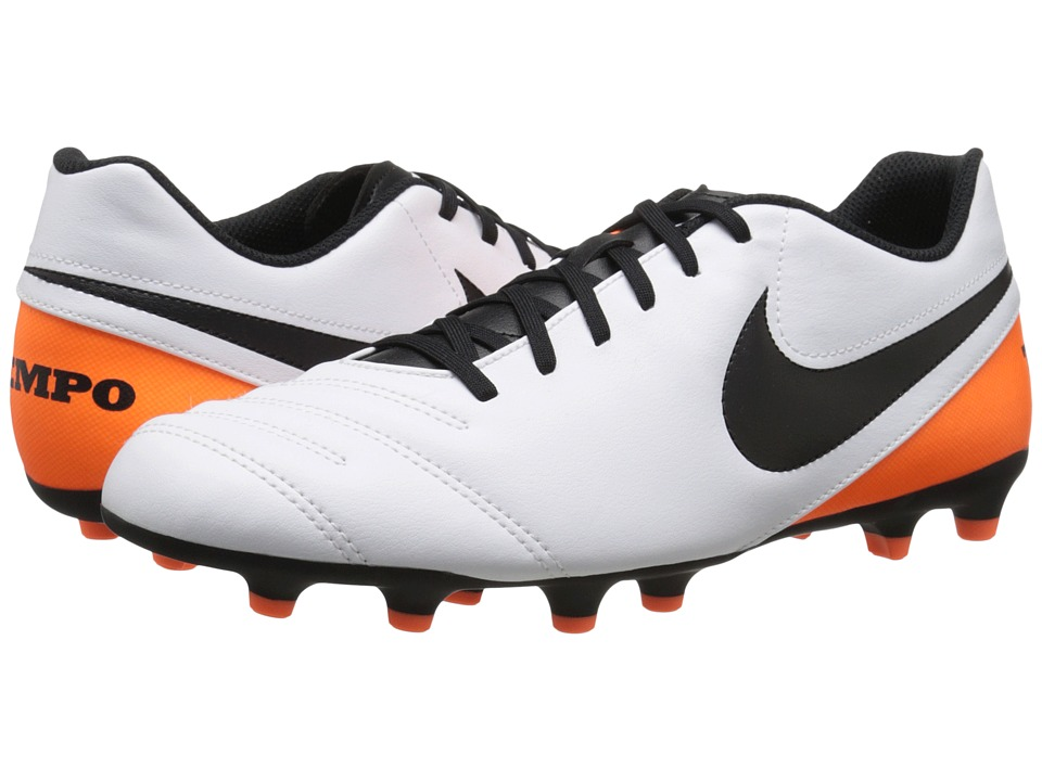 Nike - Tiempo Rio III FG (White/Total Orange/Black) Men's Soccer Shoes