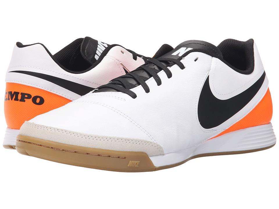 Nike Tiempo Genio II Leather IC White-Total Orange-Black Mens Soccer Shoes