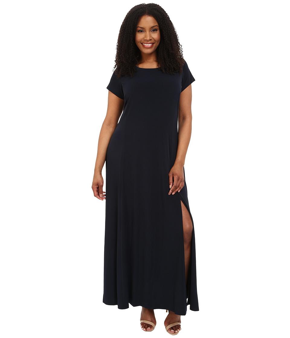 MICHAEL Michael Kors - Plus Size Cap Sleeve Slit Maxi Dress (New Navy) Women's Dress plus size,  plus size fashion plus size appare