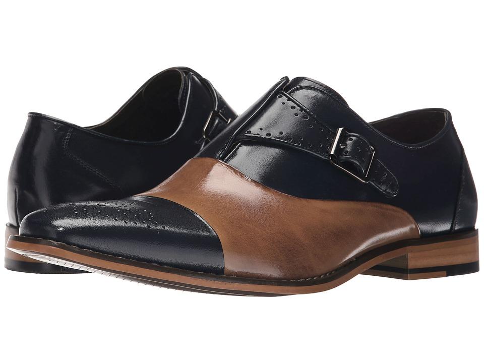 Stacy Adams - Tipton (Navy/Tan) Men's Monkstrap Shoes