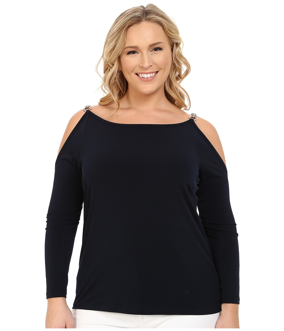 MICHAEL Michael Kors Plus Size Oval Link Cold Shoulder Top (New Navy) Women