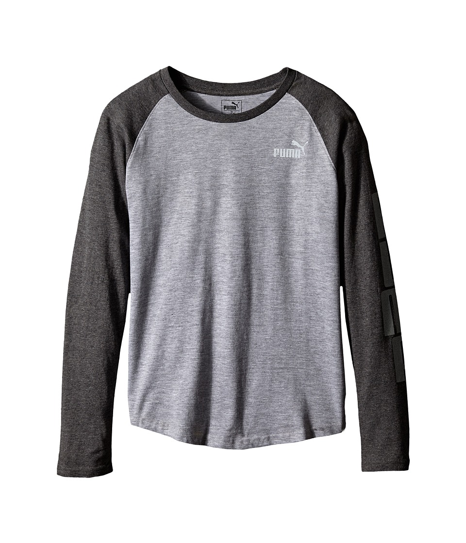 Puma Kids - Long Sleeve Raglan Tee (Big Kids) (Light Grey Heather) Boy's T Shirt