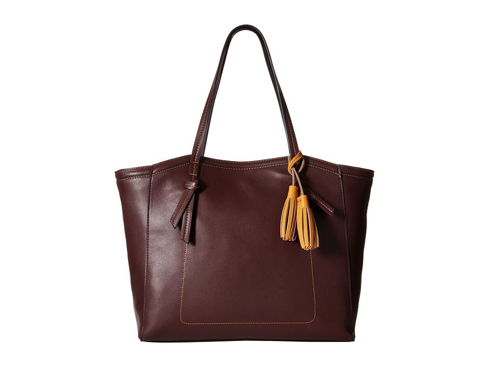 Big Buddha - Arden Beveled Tote (Burgundy/Mustard) Tote Handbags